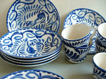 Mexican Pottery Anfora Blue White Dishes
